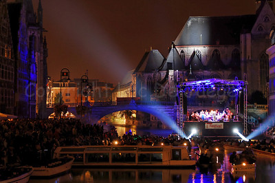 "The late evening performance of Measha Brueggergosman accompanied by the Collegium Instrumentale Brugense on a floating podium/stage on the river ""Leie"" between the Graslei and Korenlei in Ghent (Gent), Belgium.."