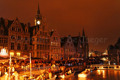 After the late evening music performance and the fireworks, there is a very nice atmosphere around the Graslei and Korenlei in Ghent (Gent), Belgium.