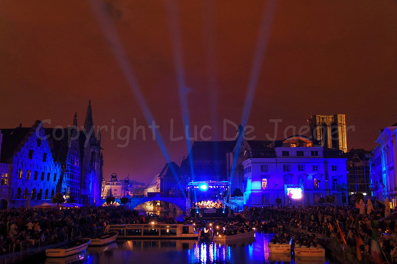 """The late evening performance of Measha Brueggergosman accompanied by the Collegium Instrumentale Brugense on a floating podium/stage on the river """"Leie"""" between the Graslei and Korenlei in Ghent (Gent), Belgium.."""
