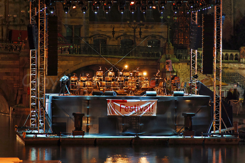 The floating stage/podium on the river Leie between the Graslei and Korenlei in Ghent (Gent), Belgium on which the performance of Measha Brueggergosman accompanied by the Collegium Instrumentale Brugense will take place.