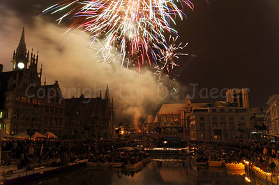 Fireworks end the OdeGand festivities in Ghent (Gent), Belgium.