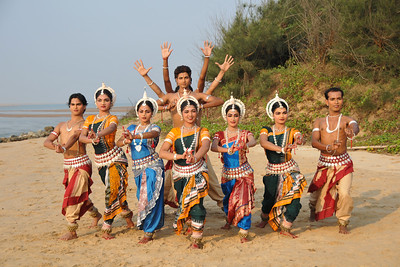 Odissi dancers of the Konark Natya Mandap at the Konark Beach shot during the Konark Dance & Music Festival and close to the famous Konark Sun temple.  These dancers have been mentored by the renowned Odissi dance teacher Guru Gangadhar Pradhan who unfortunately passed away last year. For more details on the festival and the organizers, take a look at:  http://konarkfestival.com/ and  http://www.konarknatyamandap.org/