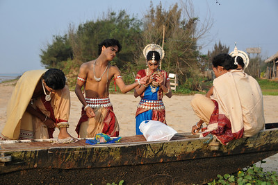 Odissi dancers of the Konark Natya Mandap at the Konark beach getting ready for the shoot. Close to the famous Konark Sun temple these dancers have been mentored by the renowned Odissi dance teacher Guru Gangadhar Pradhan who unfortunately passed away last year. For more details on the festival and the organizers, take a look at:  http://konarkfestival.com/ and  http://www.konarknatyamandap.org/