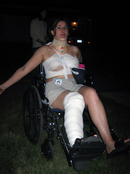 The wheelchair chick in full perfect costume