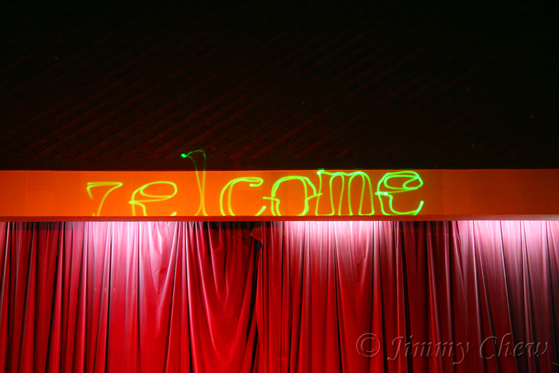 A welcome note from laser display in the theatre, prior to the Night 1 performance.