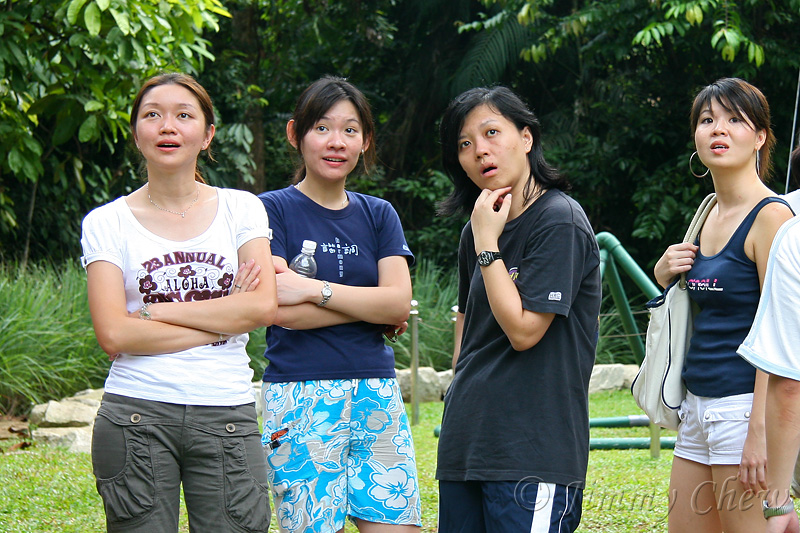 Someone did an amazing stunt on the trapeze. Hui Lee's expression confirms it.