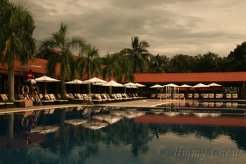 The pool in the evening.