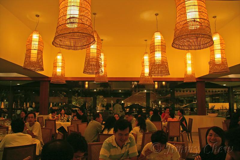 In the restaurant.