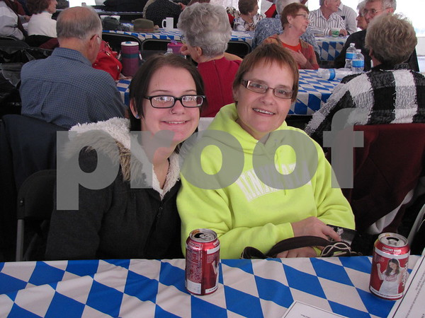 Bella and Karen Kunkel enjoying the food and polka music at Oktoberfest 2012.