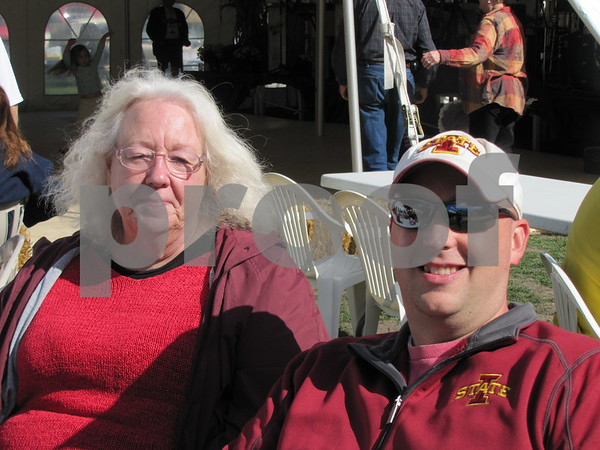Sharon Zagers and her son Chris Zagers enjoyed the sunshine while listening to the polka music at Oktoberfest 2012.