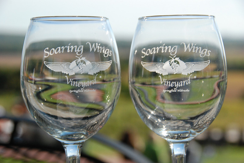 Vicky and I set our wine glasses on the table and let the sun shine through.