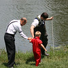 Baptizing in the pond is an annual event on Old Fashioned day.