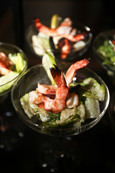 Key Lime Caesar Salad with Margarita Grilled Shrimp, elegantly served in a margarita glass on a vertical display