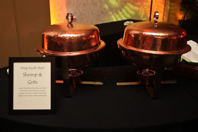 Elegant copper chafers for our Southern Style Shrimp and Grits