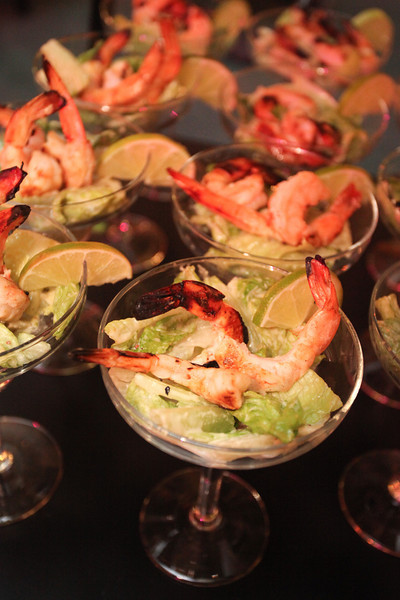 Key Lime Caesar Salad with Margarita Grilled Shrimp, elegantly served in a margarita glass on a vertical display