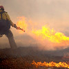 FIREML1.JPG A fire fighter turns away as the high wind blows the flames toward him while working a fire line near Nebo and Foothills Parkway north of Boulder, Colorado January 07, 2009. CAMERA/Mark Leffingwell