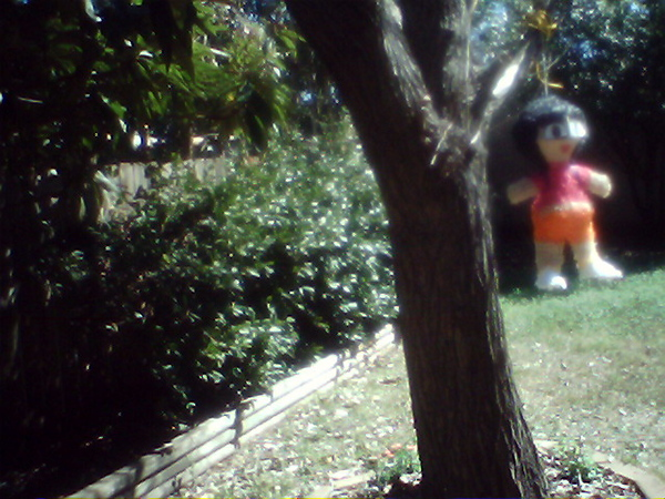 Scary Dora Pinata waiting to be bludgeoned.