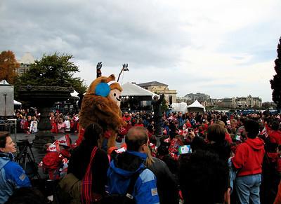 Mascot pestering the children