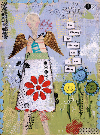"""Wings of Courage:"" mixed media by a person diagnosed with cancer in Oklahoma."