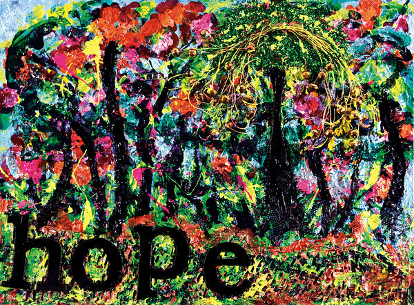 """""""Hope Springs from Chaos — Sometimes:"""" mixed media by a person diagnosed with cancer in Colorado."""