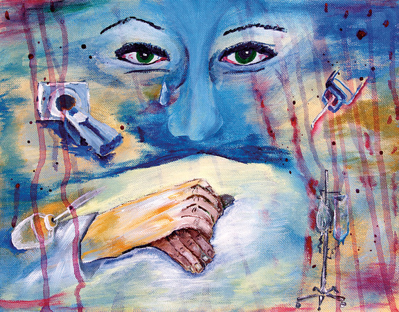 """""""The Touch of a Hand:"""" acrylic by a health care professional in Alabama."""