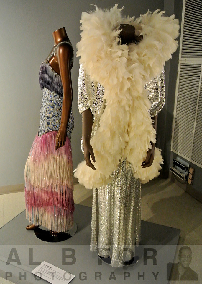 FEATHERED BRONZE.  Polyester dress with silver sequins and feathers  Pat Campano, 1974