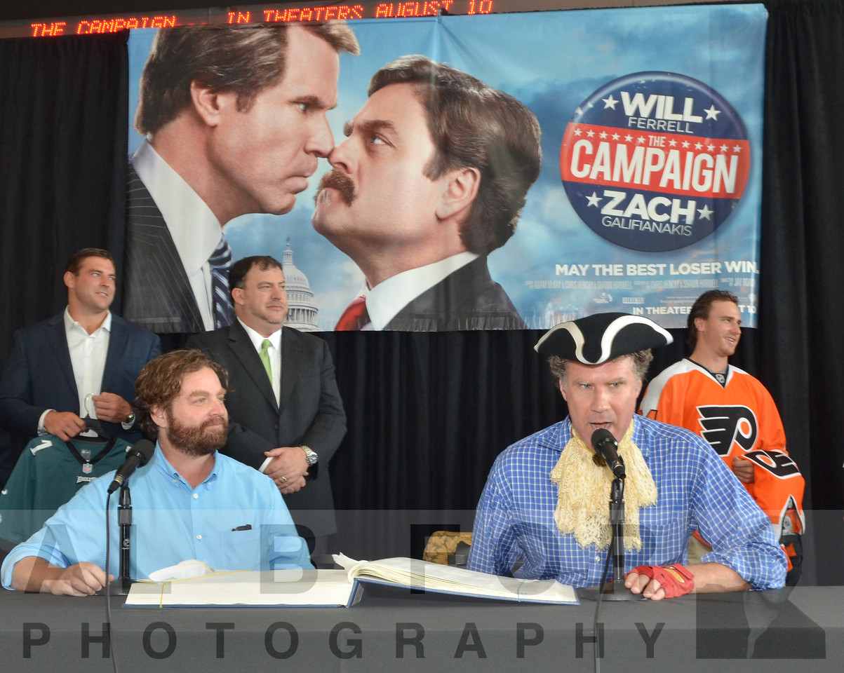 Will Ferrell & Zach Galifianakis signing the Commemorative 225th Anniversary Constitution.