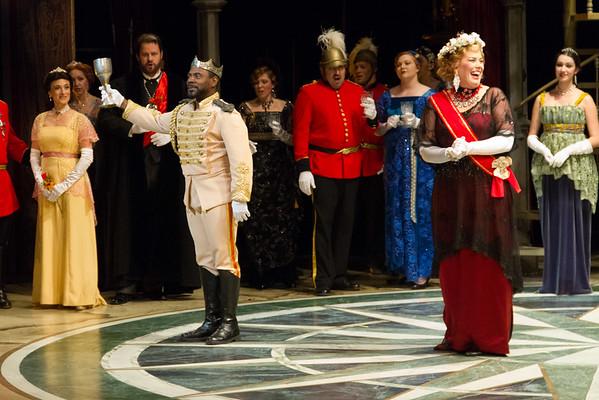 Act I, Scene 1.  Shannon DeVine as Claudio.  Caroline Worra as Geltrude.
