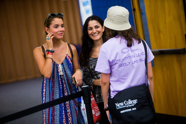 A first-year student gets some direction from an Orientation leader in Sudakoff Center Aug. 13.