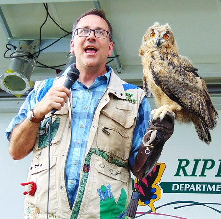 Debbie Blank | The Herald-Tribune<br /> Houdini, a 10-week-old Eurasian eagle owl, can turn his head 270 degrees because his neck contains 14 bones, twice as many as humans.