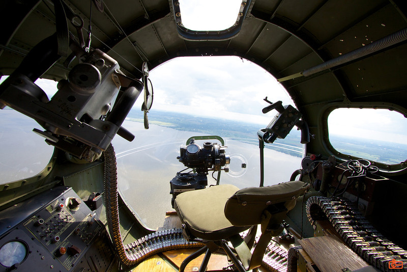 B-17 Aluminum Overcast. This is the view out of the bombardier position.<br /> IMG_9468