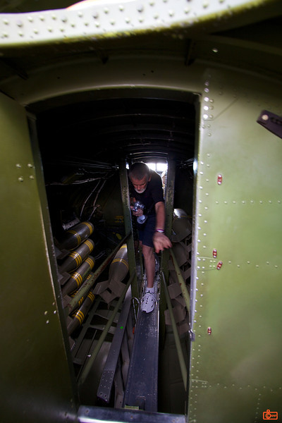 B-17 Aluminum Overcast. This is the narrow walk-way through the bomb-bay.<br /> IMG_9450