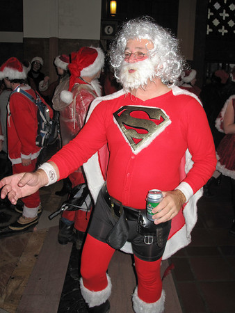 Super Santa was still in high (?) spirits after a full day of jolly-making.
