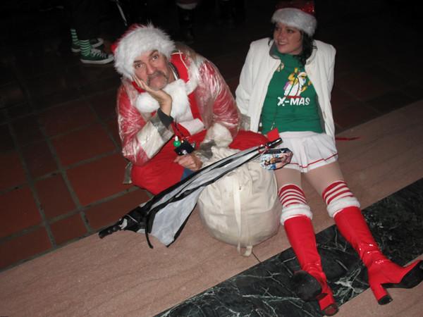 Tired Santa and Elf.
