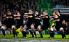 The New Zealand All Blacks preform the traditional haka before the International rugby test with Ireland against the New Zealand All Blacks at Aviva Stadium Dublin. November 2010