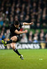 Dan Carter kicking for goal for the New Zealand All Blacks in a rugby test match