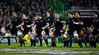 The New Zealand All Blacks preform their famous pre match haka before the International rugby test with Ireland against the New Zealand All Blacks at Aviva Stadium Dublin. November 2010
