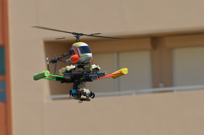 A rather amazing, though annoying, aerial video camera made overflights several times.