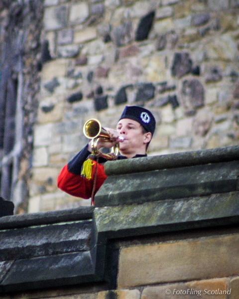 Bugle call from the battlements of Edinburgh Castle