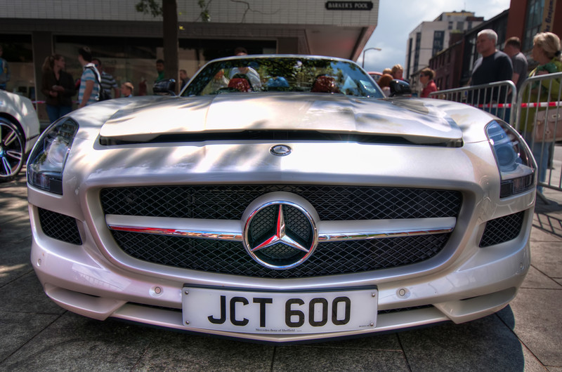Mercedes-SLS-Front-Sheffield-City-Hall-HDR