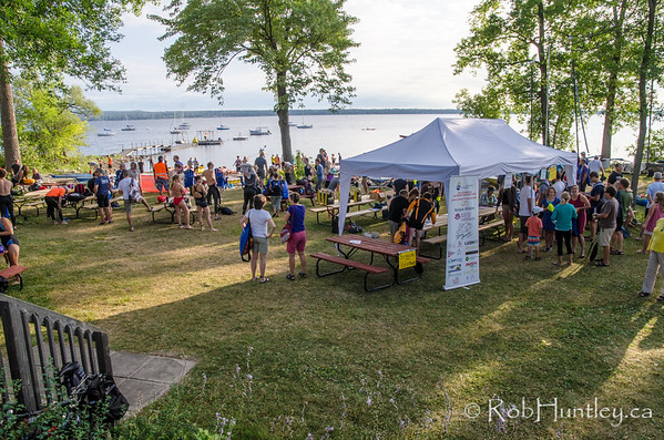 Gathering before the swim at the Deschenes Sailing Club. Ottawa Riverkeeper 4K Swim