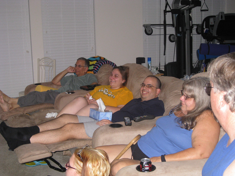 Here we go, watching Jonnie's surprise gift on Saturday night.  Yes, I cried.