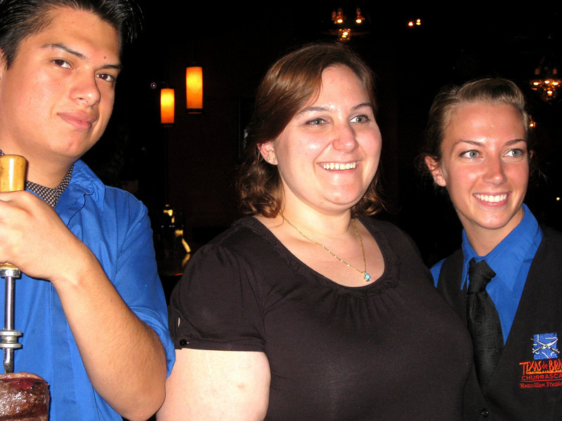 Here I am with our waitress and one of the gauchos.