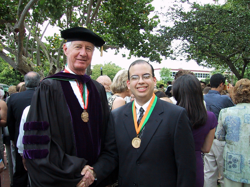 Tad Foote, President of the University of Miami, shakes Jonathan's hand after the Honors Day Convocation.  <br /> <br /> Jonathan graduated Cum Laude, with a 3.689 GPA.
