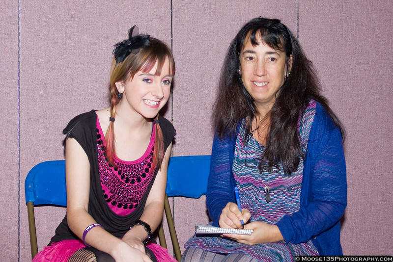 "Allisyn Ashley Arm of the Disney Channel's ""Sonny with a Chance"" with Newsday reporter Beth Whitehead at the Kids in Action Youth Conference."