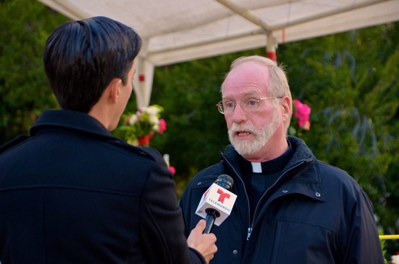 Fr. Ed Kilianski, SCJ, pastor, is interviewed by local media about the feast of Our Lady of Guadalupe
