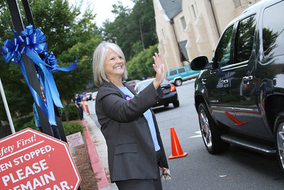 Standing in the carpool line, Ann Nagel, principal of Our Lady of the Assumption School, Atlanta, waved to parents and heard words of congratulation from car windows as the school celebrated its recognition as a 2011 National Blue Ribbon School of Excellence.  (Page 2, September 29, issue)