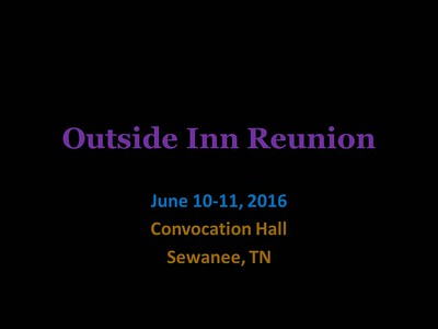 Outside Inn Reunion, Sewanee_June 10/11, 2016