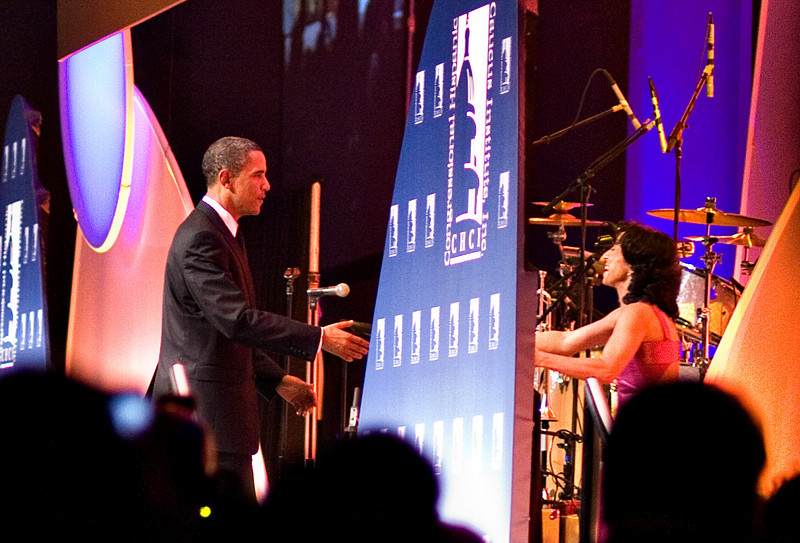 President Obama thanking the MC Maria Hinojosa at the Hispanic Caucus Gala on September 16, 2009.  She did a wonderful job.