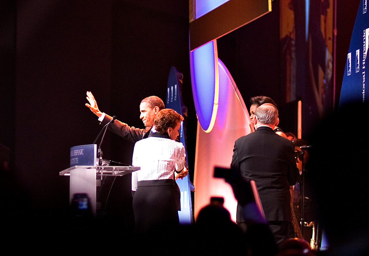 President and First Lady  at the Hispanic Caucus Gala on September 16, 2009